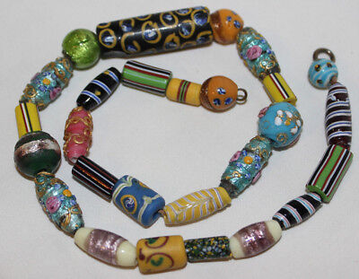 Beautiful Antique Necklace Hand-Crafted Cloisonne, Cane Beads, Foil, Glass, Clay