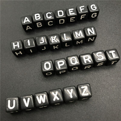 10x10mm 20pcs Black Letter Beads For Jewelry Making Charms Bracelet Necklace