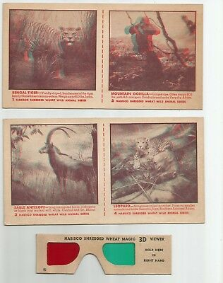 Lot of 7 1953 Nabisco Shredded Wheat 3D cards with 3D glasses some uncut