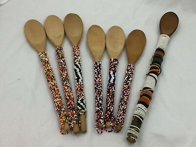"""Lot Of 7 Vintage Wooden Spoons-Colorful African Beaded Handles-10"""", 11.5"""", 13"""""""