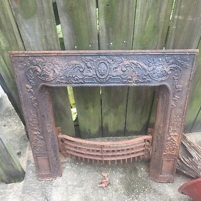 Vintage/Antique LATE 1800'S Cast Iron Fireplace Grate Insert/Facing Log Holder