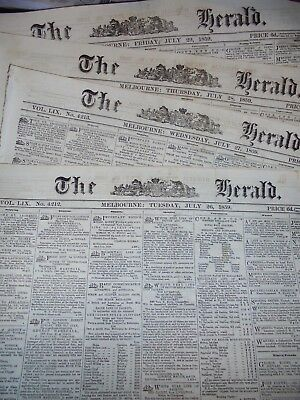 4 Issues Colonial Melbourne Newspapers....1859