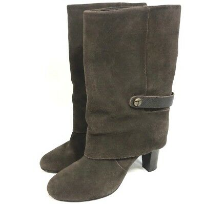 Tahari Womens Boots Brown Suede Leather Harper Mid Calf Size 8.5 Fold Over Heels