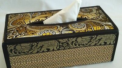 Thai Reed Black and Gold Tissue Box Cover