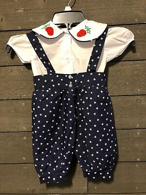 Vintage 5920 Blue White Heart Embroidered Strawberry Romper Girl's 6mos