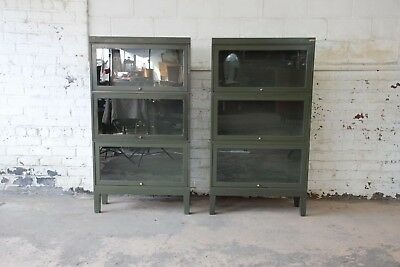 Shaw Walker Antique Metal Barrister Bookcases - A Pair