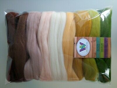 Desert* Pure Wool Roving Tops Needle and Wet Felting flesh custard camel 90 g