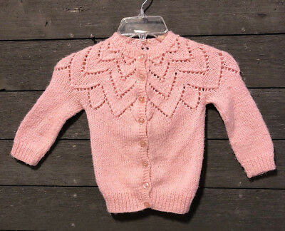 Vintage Hand Made 7729 Pink Crocheted Cardigan Sweater Girl's 3