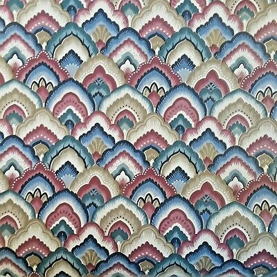 """Vintage Wallpaper 21"""" Wide Partial Roll Fish Scale Scallop Blue Red White Gold"""