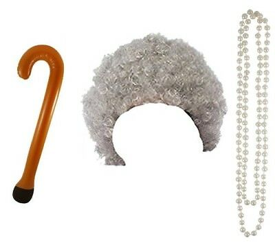 Granny Old Lady Woman Grandma Curly Grey Wig Pearls Walking Stick Fancy Dress