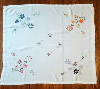 Stunning Vintage Hand Embroidered table cloth raised floral embroidery design