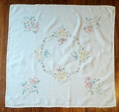 Stunning Vintage Hand Embroidered table cloth floral bouquet design