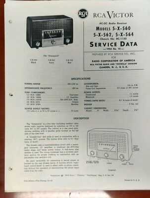 Vintage 1954 RCA Victor AC-DC Radio 5-X-560 562 564 Chassis Service Data Sheet