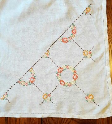 Stunning Vintage Hand Embroidered table cloth floral design