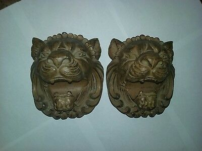 Pair Vintage Carved Wood Lion Head Flat Back Wall Sculptures Carved Pediment