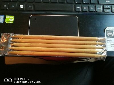 """Bamboo Double Pointed Knitting Needles Sock DPN 20cm/8"""" long  set of 5, 6mm"""