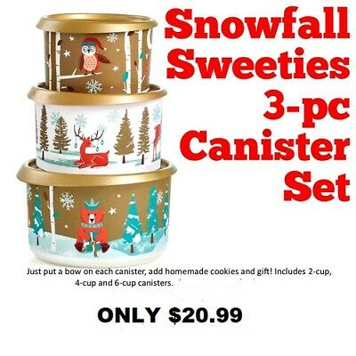 New Tupperware 3 Pc Winter Snowfall Holiday Canister Set 2,4,6 cup Only $3 S/H