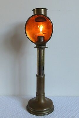 Antique Victorian Brass Adjustable (sprung) Students Candle Reading Lamp.