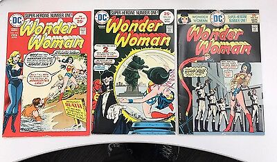 LOT of 3 WONDER WOMAN 216 218 219 Classic DC Bronze age Mid-Grade 1974-75