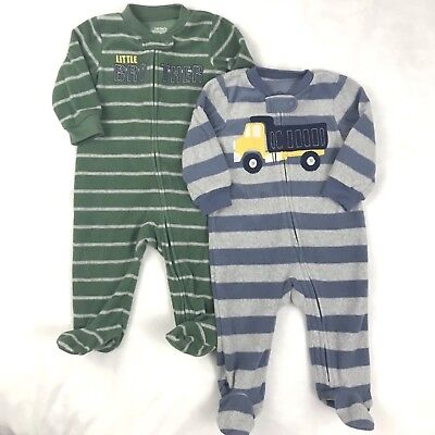 735948e37d Carters Baby Boy Lot of 2 Fleece Footed Sleeper Size 6 Months Pajamas  Striped