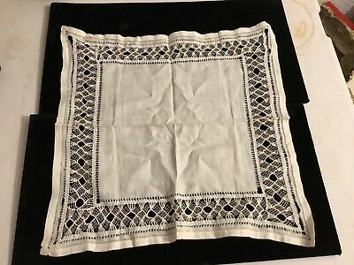 Antique Hand Knitted Lace Handkerchief - White Crochet Vintage Cloth