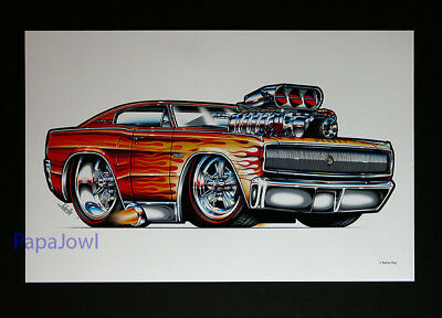 """Muscle Machines Print Art Poster 1966 Dodge Hemi Charger Rohan Day 11"""" by 17"""""""