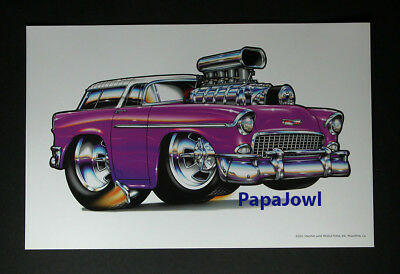 """Muscle Machines Print Art Poster 1955 Chevtolet Nomad Rohan Day 11"""" by 17"""""""