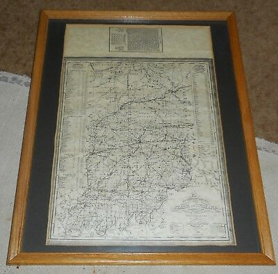 1835 Tourist's Pocket Map of The State Of Indiana J Augustus Mitchell Framed