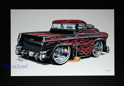 """1955 Chevrolet Cameo Pickup  Muscle Machines Prints Art Poster 11"""" by 17"""""""