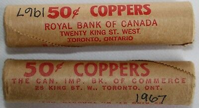 Lot of 2 1967 Canada Small Cent Uncirculated 50 Coin Rolls One Cent Nice BU K