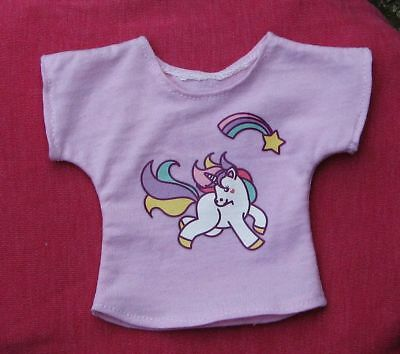 Pink cute rainbow unicorn t-shirt, top for MSD, 1/4 BJD dollfie