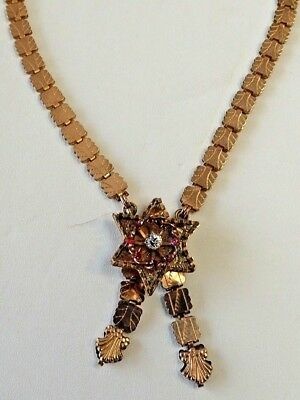 """Antique 19th Century Victorian Gold Filled 18"""" Book Chain Link Necklace Pendant"""