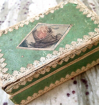 Antique French Victorian Early Paper Litho Print Hankie Box