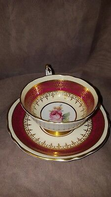 Wide Paragon England Tea Cup  & Saucer Red with Pink Rose Gold Double Warrant