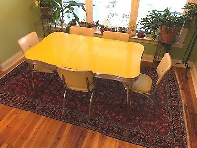 Mid Century Modern Dinette Table With Chairs Set 1950's Art Deco Style Lucy