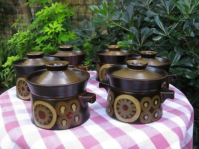Superb Denby Arabesque, 6 x Lidded Soup Bowls / Pots - Unused - Much Available