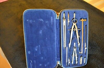 10-Pc Big Bow Drafting Set in Very Nice Lined Zipper Case, Charvoz,Germany
