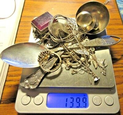 139.9 Grams of scrap sterling silver chains, earrings, rings and more