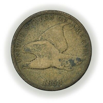 1858 Flying Eagle Cent, Large Letters, Early Small Cent Type CIR Coin [3579.14]
