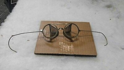 Vintage Willson Safety Goggles Glasses Motorcycle Glasses Wrap Around Chrome