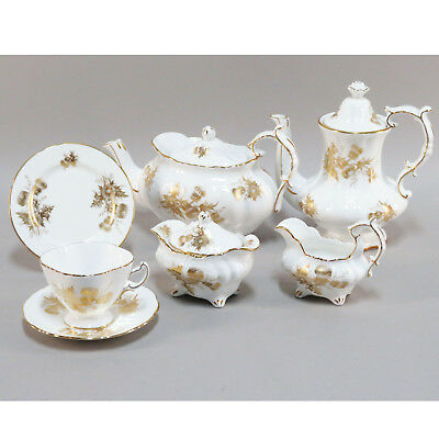 Hammersley Bone China England NEW Teaset Coffee set Golden Thistle pattern 43 pc