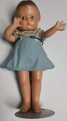 """EARLY VINTAGE 13"""" EFFANBEE PATSY DOLL 1920's-1930's ORIGINAL DRESS!  W/ STAND!"""