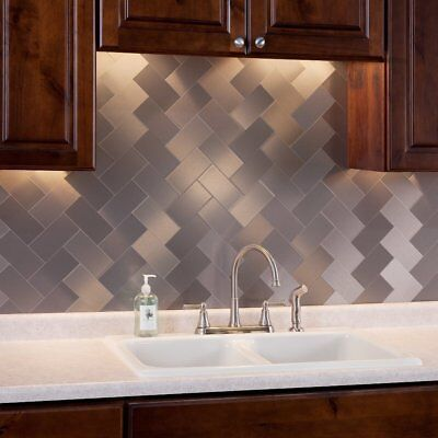 Art3d 54 Piece Peel And Stick Stainless Steel Backsplash Tiles 3 X