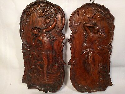 Rare Pair Antique American Art Nouveau Nude Carved Wall Plaques Great Patina!