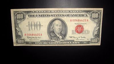 USA 1966 $100 DOLLAR UNITED STATES NOTE RED SEAL Nice Condition XF A00484425A