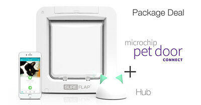 NEW!SureFlap Microchip Pet Door Connect + HUB  App-Controlled Microchip Pet Door