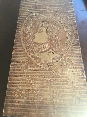 Antique Wooden Arts & Crafts Valentine Card Box Etched Victorian Woman Heart
