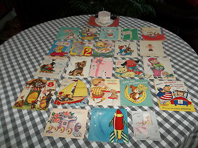 1950's Vintage Chrilren's Greeting Cards  Lot of 24 Birthday Thank-You Get-Well
