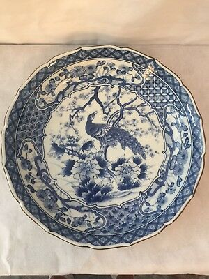 Japanese Blue and White Peacock Plate