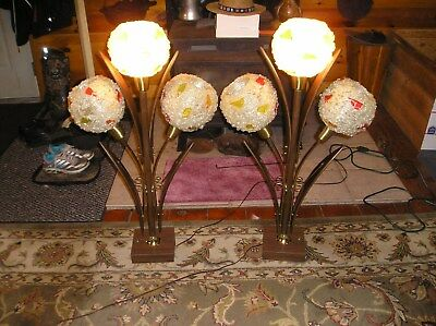 Vintage Mid Century Modern Danish Spaghetti Spun 3 Way 3 Table Desk Lamp Working